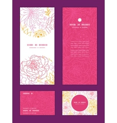 Flowers outlined vertical frame pattern vector