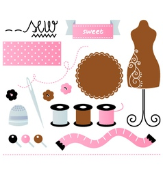 Sewing set isolated on white - pink and brown vector