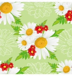 Floral seamless background with white chamomiles vector