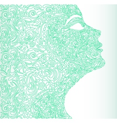 Girls face from a floral vector