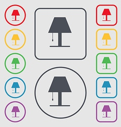 Lamp icon sign symbol on the round and square vector