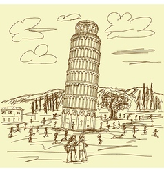 Hand drawn of famous tourist destination leaning vector
