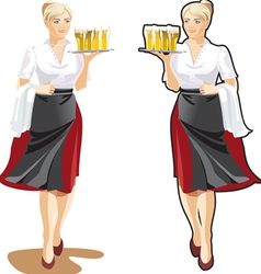 beer waitress vector image