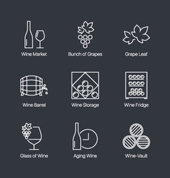 Wine icons grey vector