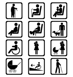 Priority seating area signs vector