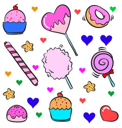 Art candy various colorful doodle vector