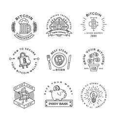 Bitcoin logo templates set cryptocurrency badge vector