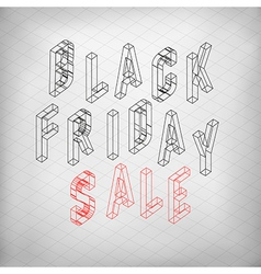 Black friday sale isometric letters typoraphy for vector