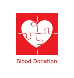 Blood donation logo puzzle vector