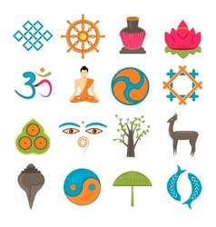 Buddhism icons set vector image