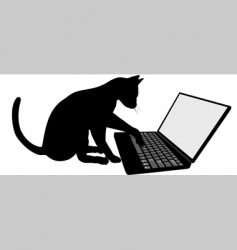 Cat on laptop vector