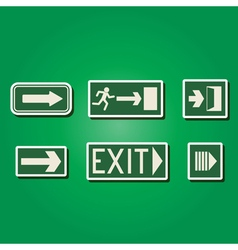 Color icons with exit signs vector