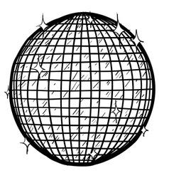 doodle disco ball vector image vector image