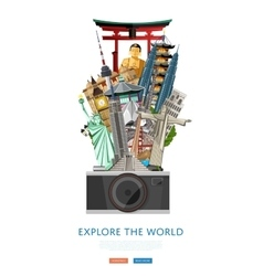 Explore the world poster with famous attractions vector