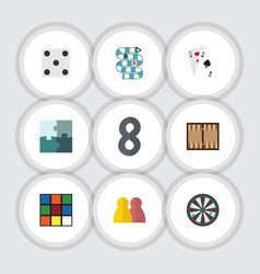 Flat icon play set of cube backgammon jigsaw and vector