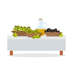 Fresh Harvest of Olives Flat Design Concept vector image vector image