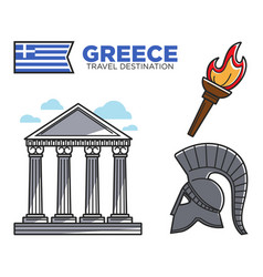 greece travel destination famous tourist landmarks vector image vector image