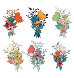 Hand drawn flower bouquets for wedding invitations vector image vector image