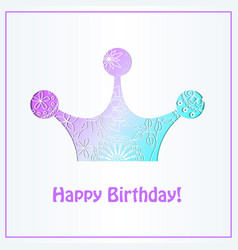 Happy birthday card with crown gradient vector