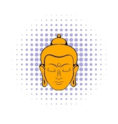 Head of buddha icon comics style vector
