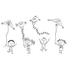 Kids with flying kites vector image vector image