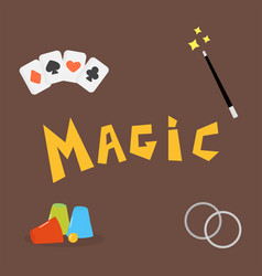 magician tools poker cards art style gambler vector image vector image