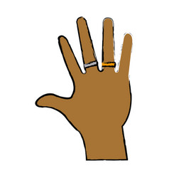 Male palm hand with two rings adult image vector