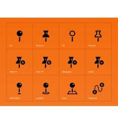 Mapping Pin icons on orange background vector image vector image