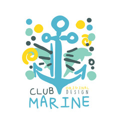 marine club original logo design summer travel vector image vector image