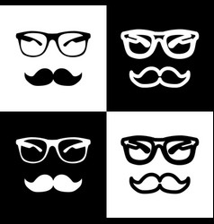 Mustache and glasses sign black and white vector