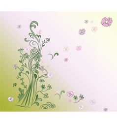 Natural background with trees and flowers vector