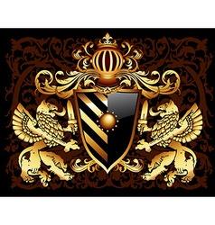 ornamental heraldic shield vector image vector image