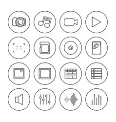 Photo and video icons of thin lines vector