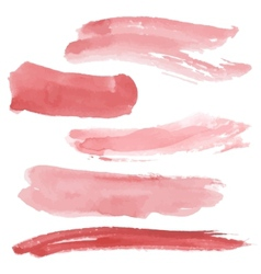 Red brush strokes set on white background vector image
