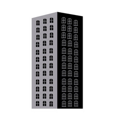 Silhouette monochrome with apartment building vector