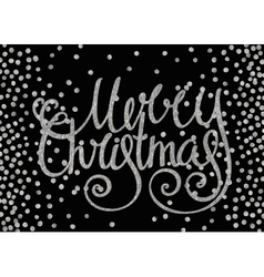 Silver calligraphic inscription Merry Christmas vector image vector image