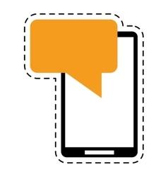 Smartphone sms talking bubble speak cut line vector