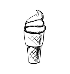 Soft ice cream in waffle cone sketch vector