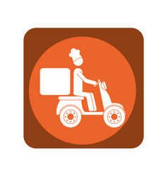 Square emblem with delivery man in scooter vector