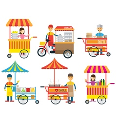 Street food and drink hawker seller vector