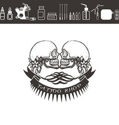 Tattoo shop logo emblem Black and white vector image vector image