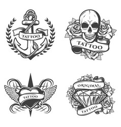 Vintage tattoo studio emblems set vector