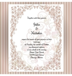 Wedding card template with frame and elegant vector