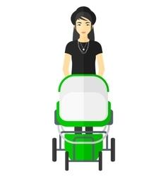 Woman pushing pram vector