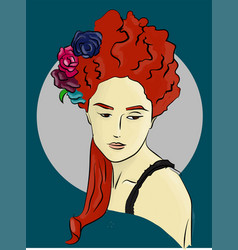 Woman with flowers in red hair on a blue vector