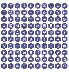 100 veterinary icons hexagon purple vector