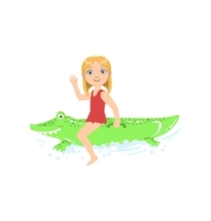 Girl Riding Inflatable Crocodile Toy In The Water vector image