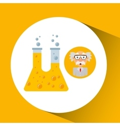 Character man scientist experiment test tube vector