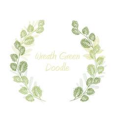 Green scribble leaf wreath card template vector