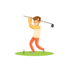 Smiling golf player hitting the ball vector